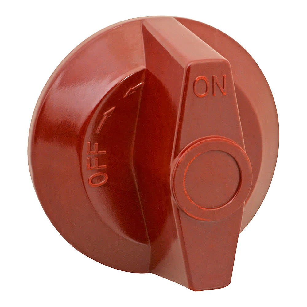 "Franklin Machine 220-1212 2.5"" Gas Valve Knob for Wolf Ovens, Ranges, & Griddles - Plastic, Red"