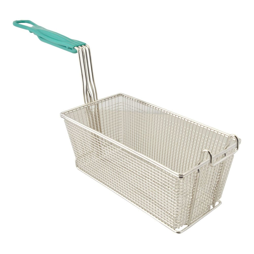"Franklin Machine 225-1026 Fryer Basket w/ Coated Handle & Front Hook, 12.875"" x 6.5"" x 5.375"""