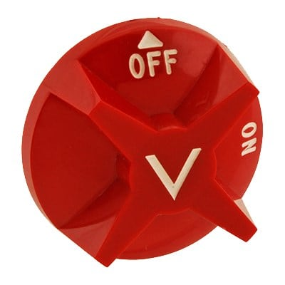 "Franklin Machine 228-1196 2.87"" Gas Valve Knob for Vulcan Charbroilers - Plastic, Red"