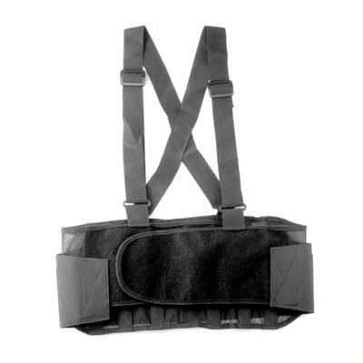 "Franklin Machine 280-1510 X-Small Back Support Belt w/ Shoulder Straps - Fits 23"" - 27"" Hips, Black"