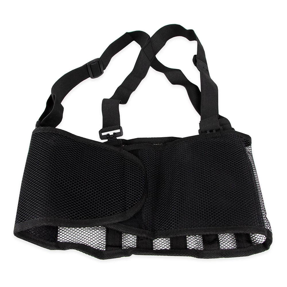 "Franklin Machine 280-1511 Small Back Support Belt w/ Shoulder Straps - Fits 28"" - 32"" Hips, Black"