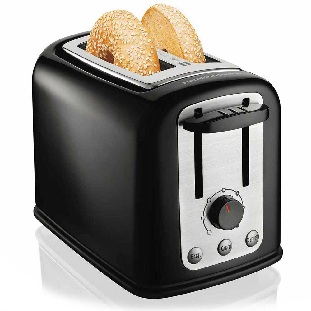 Hamilton Beach 22444 2-Slice Bagel Toaster w/ (3) Functions & Shade Selector Dial, Black