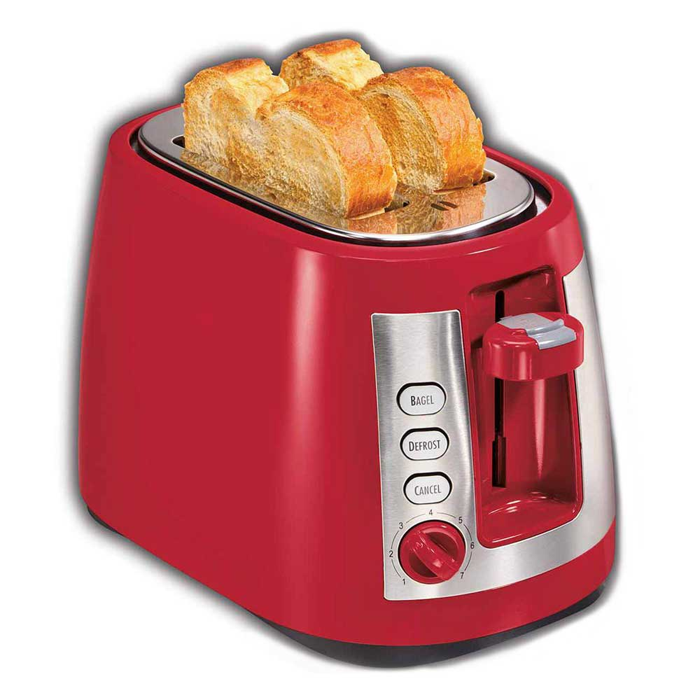 Hamilton Beach 22812 2-Slice Toaster w/ Extra-Wide Slots - (3) Functions & Shade Selector Dial, Red