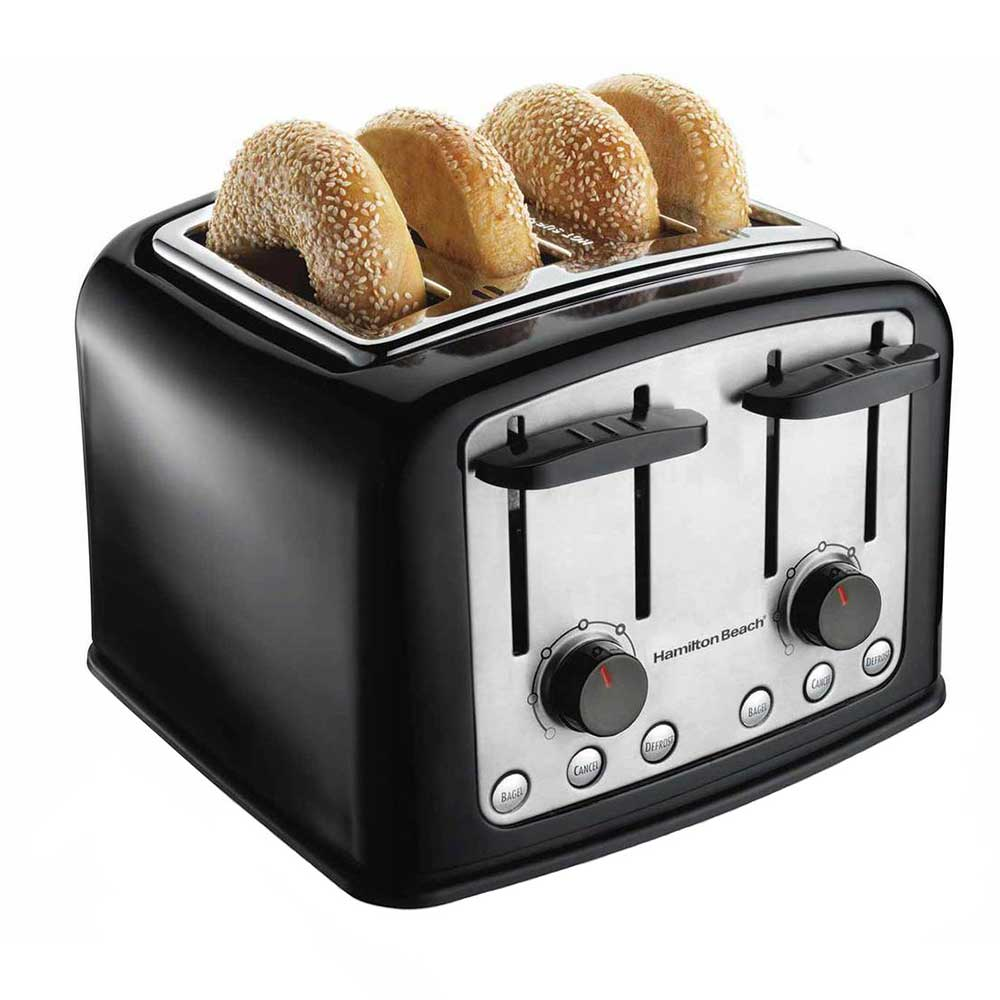 Hamilton Beach 24444 4-Slice Toaster w/ Extra Wide Slots - (3) Functions & Shade Selector Dials, Black/Chrome