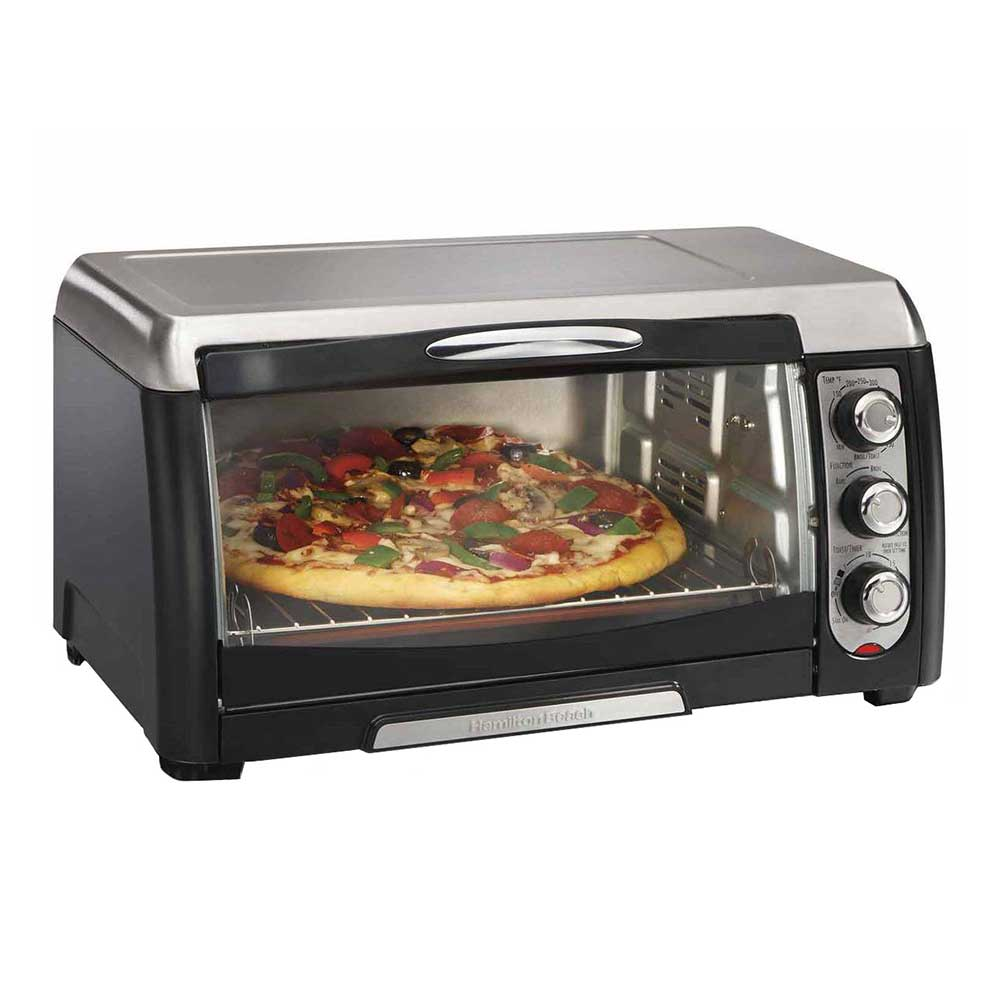 "Hamilton Beach 31331 17.68"" Convection Toaster Oven w/ Curved Glass Door, Black/Stainless"