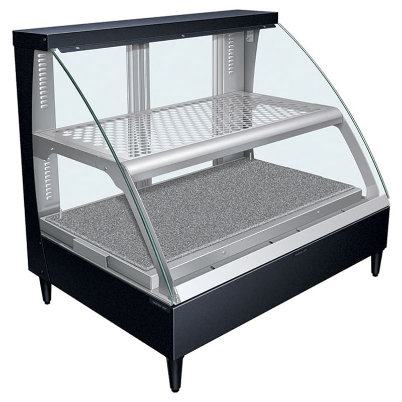 """Hatco FSCD-2PD 34.34"""" Full-Service Countertop Heated Display Case w/ Curved Glass - (2) Levels, 120v"""