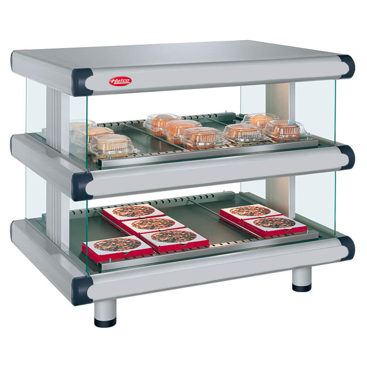 "Hatco GR2SDH-48D 54.25"" Self-Service Countertop Heated Display Shelf - (2) Shelves, 240v/1ph"