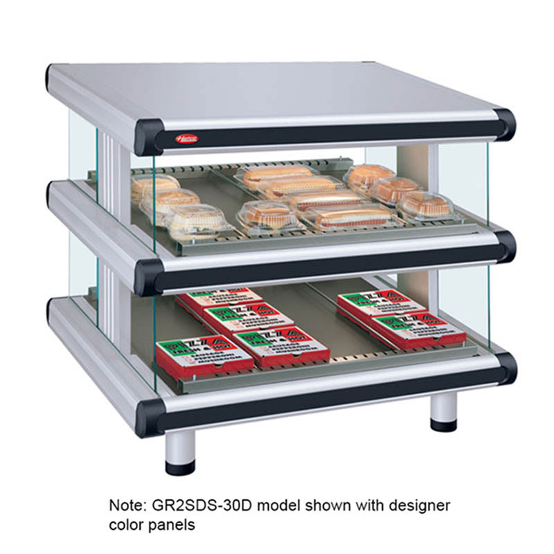 "Hatco GR2SDS-48D 54.25"" Self-Service Countertop Heated Display Shelf - (2) Shelves, 240v/1ph"