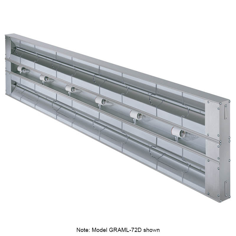 "Hatco GRAML-108D-3 108"" Foodwarmer, Dual w/ 3"" Spacing, Max Watt & Lights, 208 V"