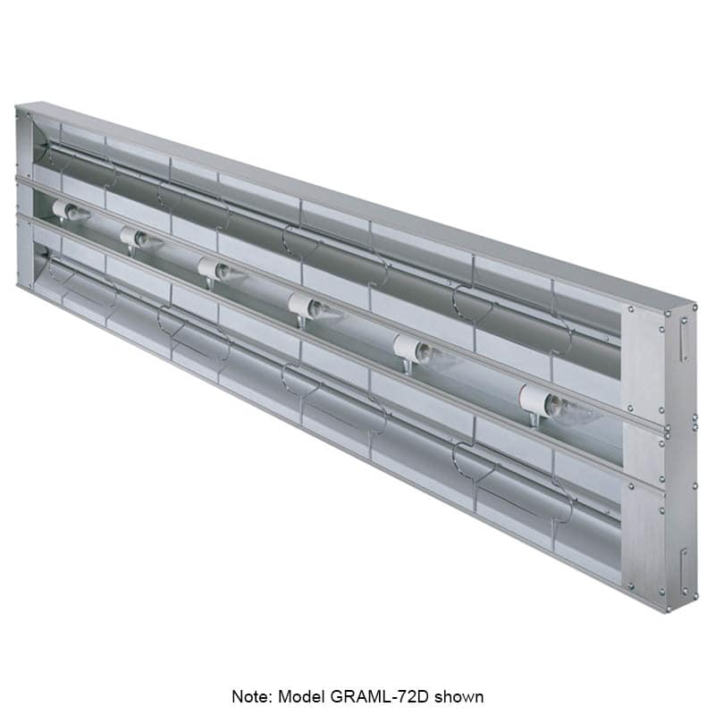 "Hatco GRAML-96D-3 96"" Foodwarmer, Dual w/ 3"" Spacing, Max Watt & Lights, 240 V"