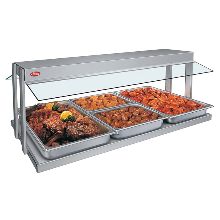 "Hatco GRBW-54 55-1/8"" Buffet Warmer, Sneeze Guards, Light & Heated Base, 240 V"