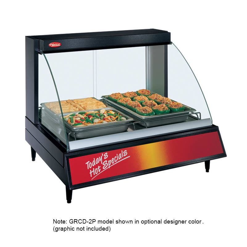 "Hatco GRCD-2P 32.5"" Self-Service Countertop Heated Display Case w/ Curved Glass - (1) Level, 120v"