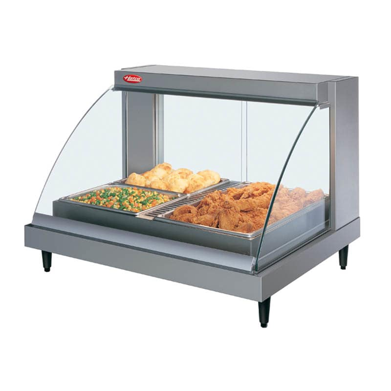 "Hatco GRCDH-2P 32.5"" Self-Service Countertop Heated Display Case w/ Curved Glass - (1) Level, 120v"