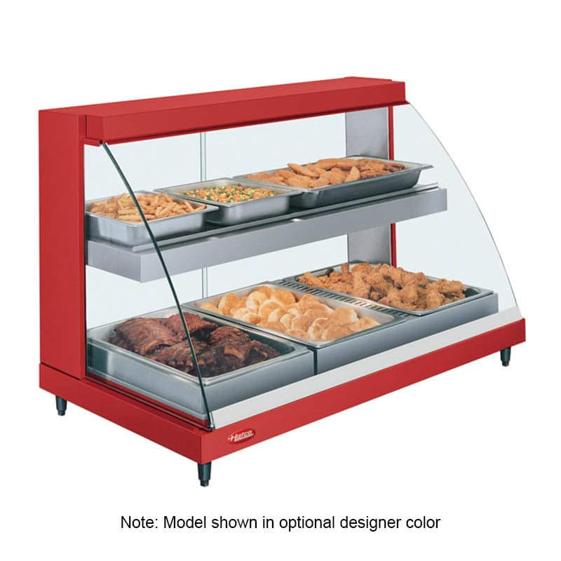 "Hatco GRCDH-3PD 45.53"" Self-Service Countertop Heated Display Case w/ Curved Glass - (2) Levels, 120v"