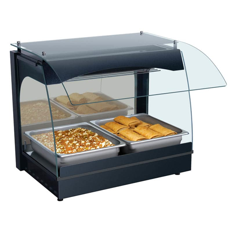 "Hatco GRCMW-1 22.13"" Self-Service Countertop Heated Display Case w/ Curved Glass - (1) Level, Black, 120v"