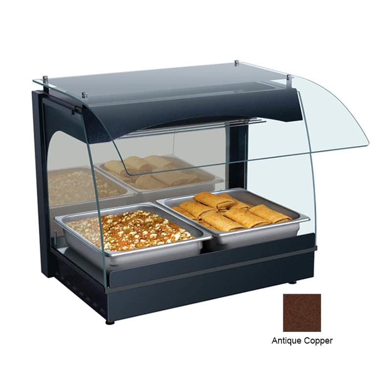 "Hatco GRCMW-1 22.13"" Self-Service Countertop Heated Display Case w/ Curved Glass - (1) Level, Copper, 120v"