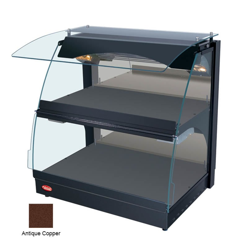 "Hatco GRCMW-1D 26"" Self-Service Countertop Heated Display Case w/ Curved Glass - (2) Levels, Copper, 120v"