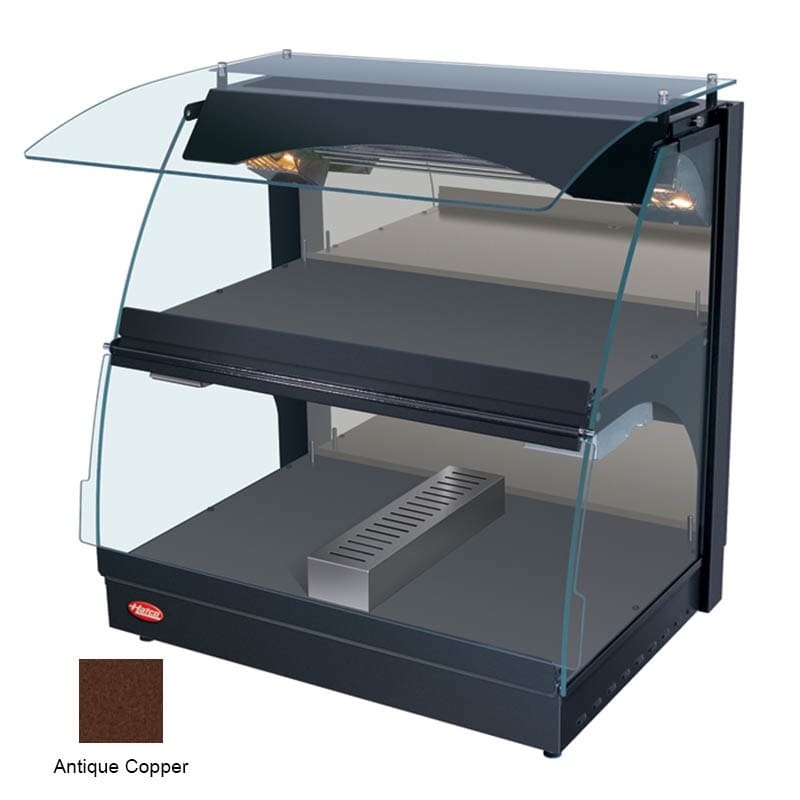 "Hatco GRCMW-1DH 26"" Self-Service Countertop Heated Display Case w/ Curved Glass - (2) Levels, Copper, 120v"