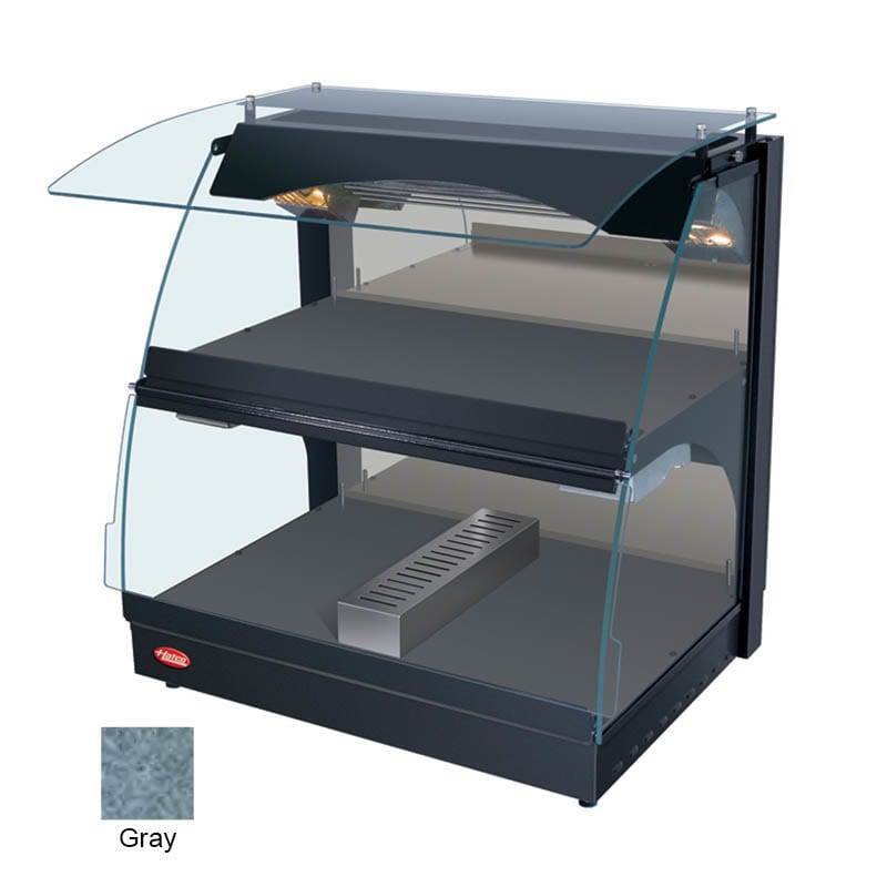 "Hatco GRCMW-1DH 26"" Self-Service Countertop Heated Display Case w/ Curved Glass - (2) Levels, Gray, 120v"