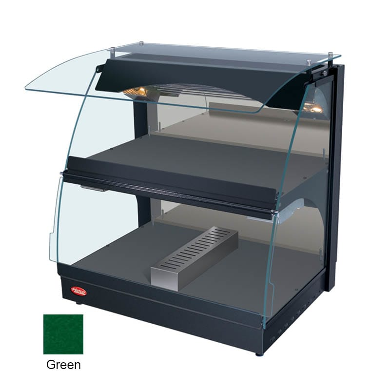 "Hatco GRCMW-1DH 26"" Self-Service Countertop Heated Display Case w/ Curved Glass - (2) Levels, Green, 120v"