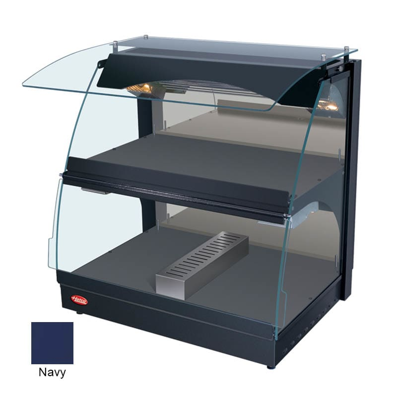 "Hatco GRCMW-1DH 26"" Self-Service Countertop Heated Display Case w/ Curved Glass - (2) Levels, Navy, 120v"