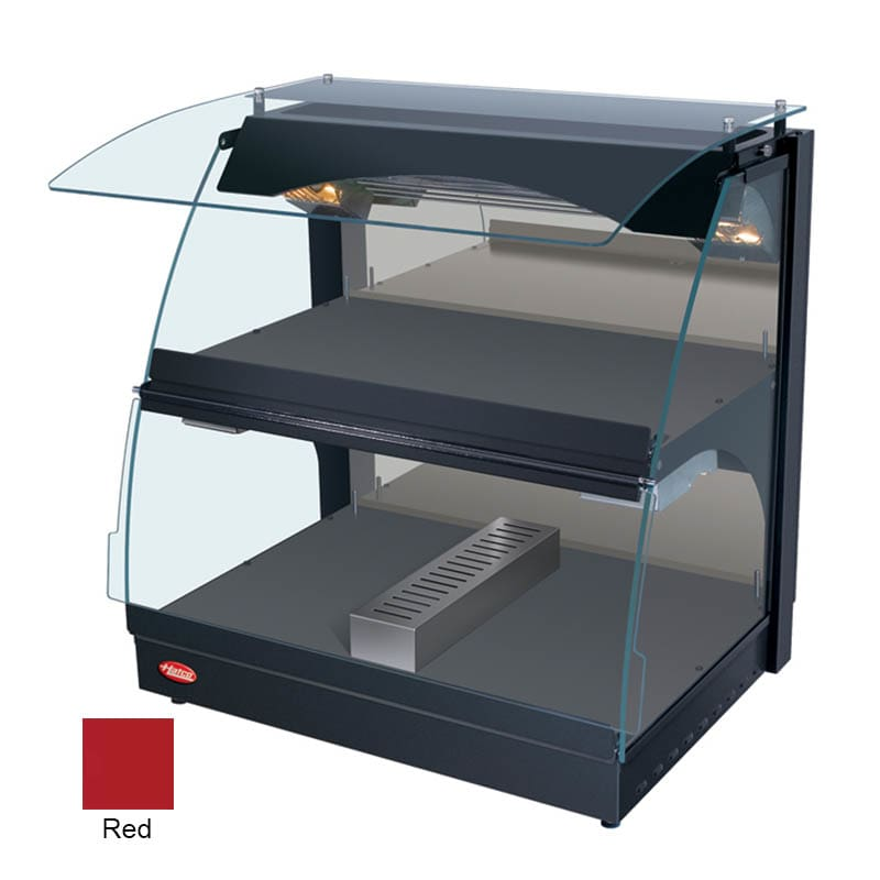 "Hatco GRCMW-1DH 26"" Self-Service Countertop Heated Display Case w/ Curved Glass - (2) Levels, Red, 120v"