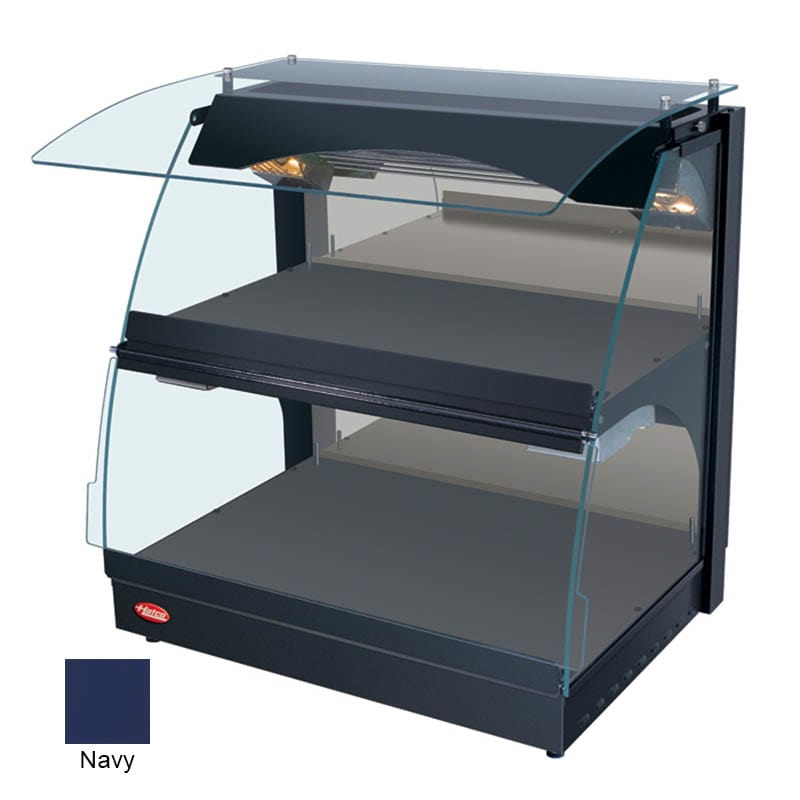 "Hatco GRCMW-1D 26"" Self-Service Countertop Heated Display Case w/ Curved Glass - (2) Levels, Navy, 120v"