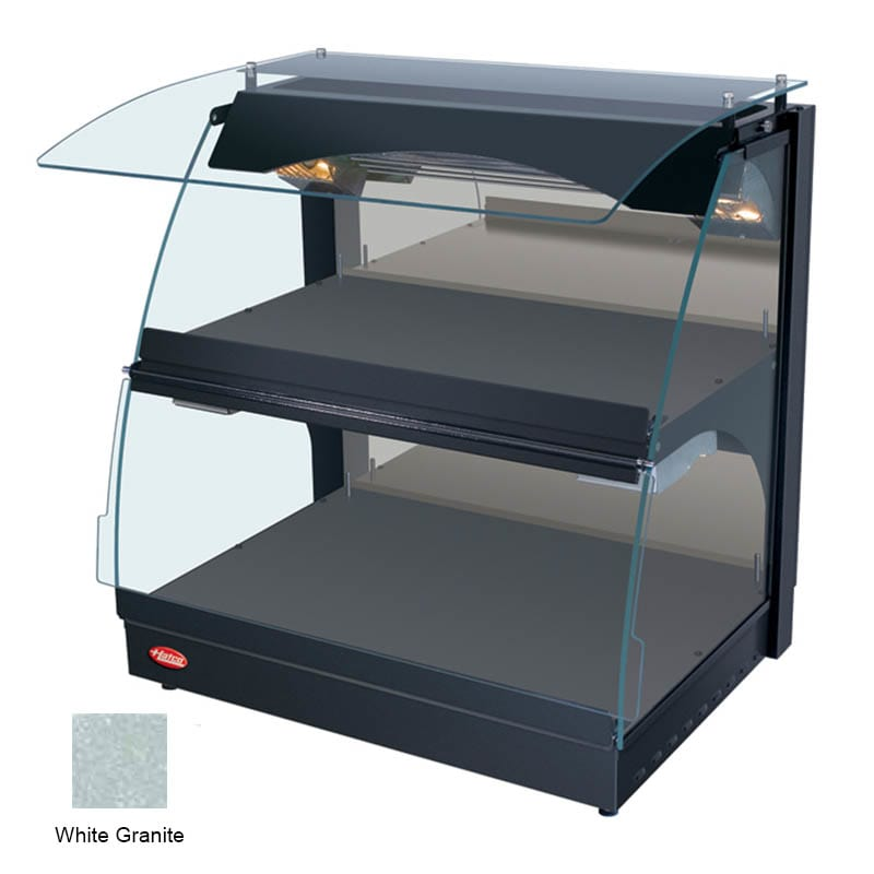 "Hatco GRCMW-1D 26"" Self-Service Countertop Heated Display Case w/ Curved Glass - (2) Levels, White, 120v"