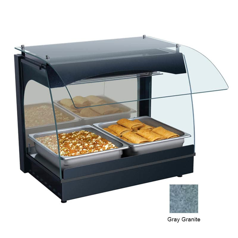 """Hatco GRCMW-1 22.13"""" Self-Service Countertop Heated Display Case w/ Curved Glass - (1) Level, Gray, 120v"""