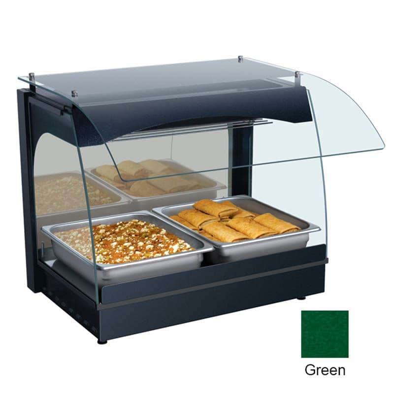 """Hatco GRCMW-1 22.13"""" Self-Service Countertop Heated Display Case w/ Curved Glass - (1) Level, Green, 120v"""