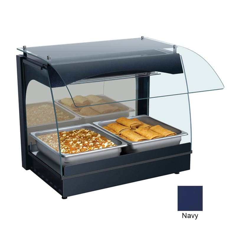"Hatco GRCMW-1 22.13"" Self-Service Countertop Heated Display Case w/ Curved Glass - (1) Level, Navy, 120v"