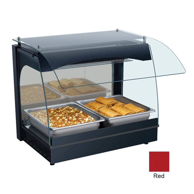 "Hatco GRCMW-1 22.13"" Self-Service Countertop Heated Display Case w/ Curved Glass - (1) Level, Red, 120v"