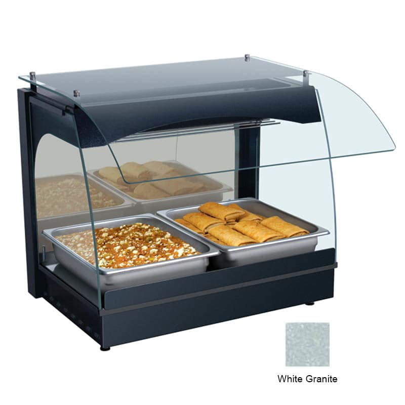 "Hatco GRCMW-1 22.13"" Self-Service Countertop Heated Display Case w/ Curved Glass - (1) Level, White, 120v"