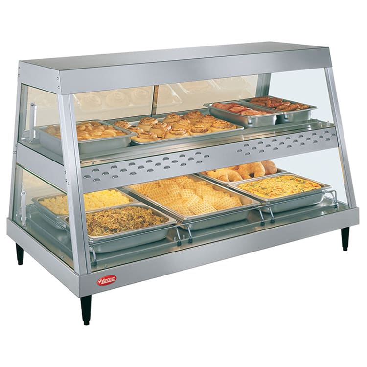 """Hatco GRHD-3PD 45.5"""" Full-Service Countertop Heated Display Case w/ Straight Glass - (2) Levels, 120v"""