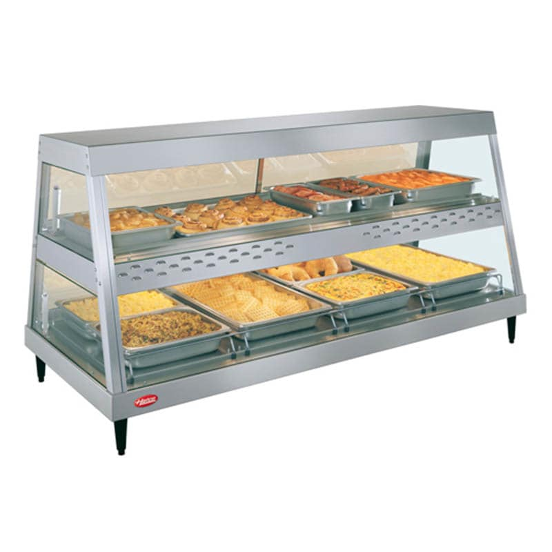 "Hatco GRHD-4PD 58.5"" Full-Service Countertop Heated Display Case w/ Straight Glass - (2) Levels, 120v"