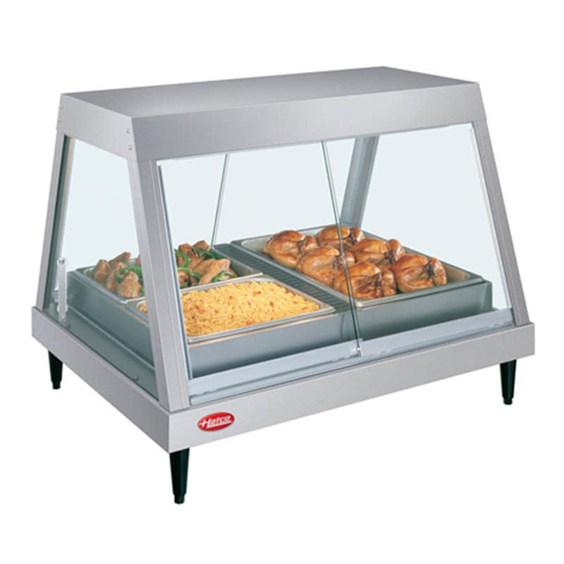 "Hatco GRHDH-2P 32.5"" Full-Service Countertop Heated Display Case w/ Straight Glass - (1) Level, 120v"