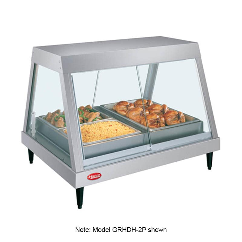 "Hatco GRHDH-2PD 32.5"" Full-Service Countertop Heated Display Case w/ Straight Glass - (2) Levels, 120v"