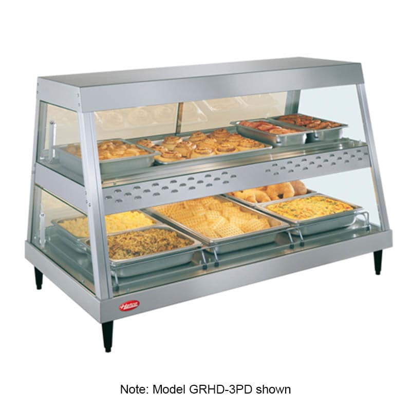 "Hatco GRHDH-3PD 45.5"" Full-Service Countertop Heated Display Case w/ Straight Glass - (2) Levels, 120v"