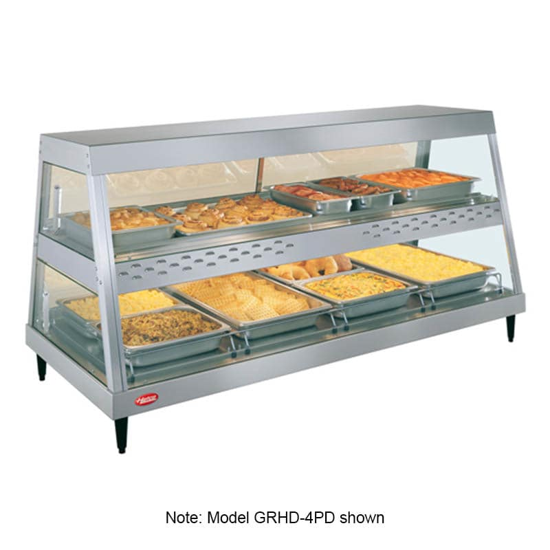 "Hatco GRHDH-4PD 58.5"" Full-Service Countertop Heated Display Case w/ Straight Glass - (2) Levels, 120v"