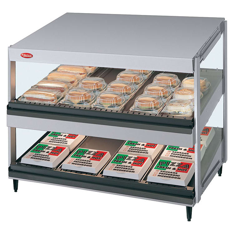 "Hatco GRSDS-36D 36"" Self-Service Countertop Heated Display Shelf - (2) Shelves, 120v"
