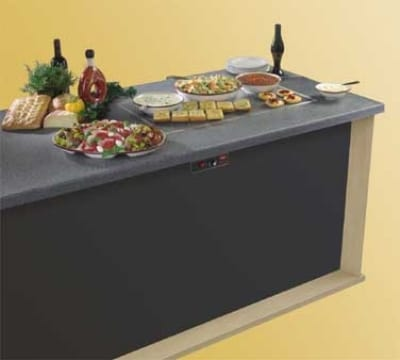 "Hatco GRSSB-6018 61-5/8"" Built-In Heated Stone Shelf, Bermuda Sand Stone, 120 V"
