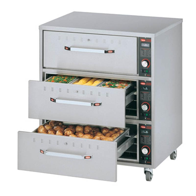 Hatco HDW-3N Freestanding Narrow Warming 3-Drawer Unit For Standard Pans, 208 V