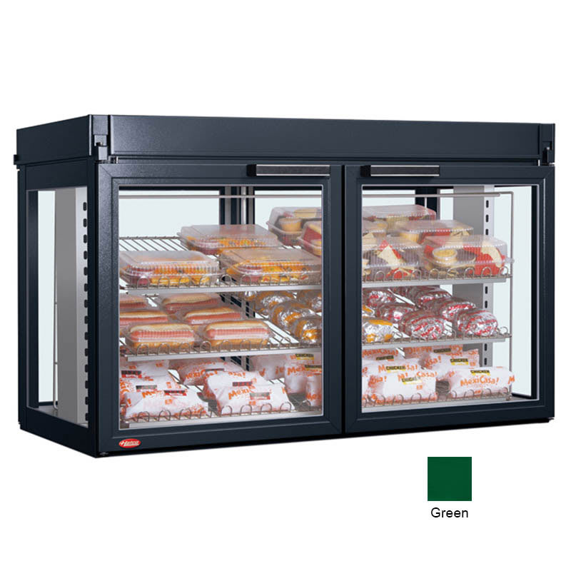 "Hatco LFST-48-1X 48.81"" Full-Service Countertop Heated Display Case - (3) Shelves, Green, 208v/1ph"