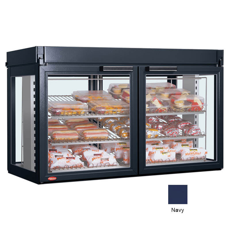 "Hatco LFST-48-1X 48.81"" Full-Service Countertop Heated Display Case - (3) Shelves, Navy, 208v/1ph"