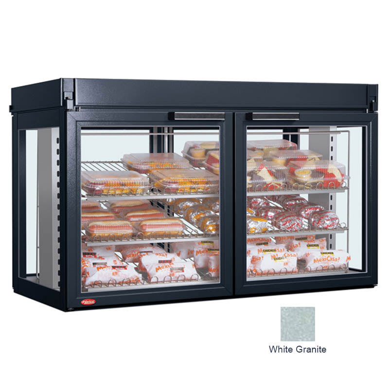 "Hatco LFST-48-1X 48.81"" Full-Service Countertop Heated Display Case - (3) Shelves, White, 208v/1ph"