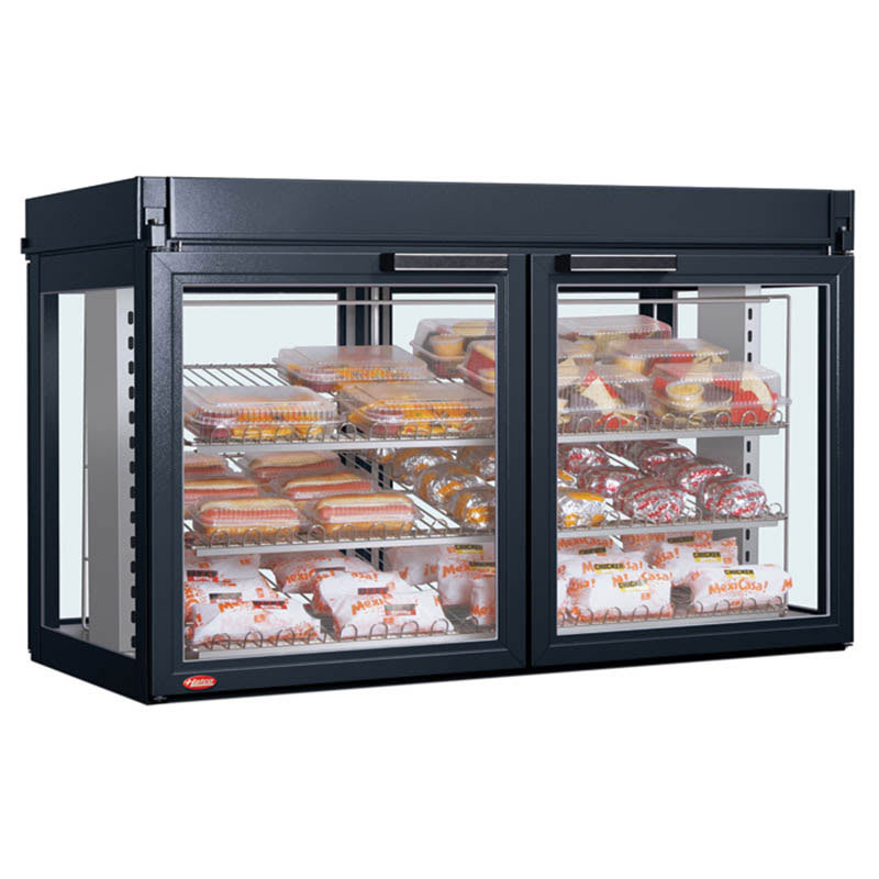 "Hatco LFST-48-1X 48.81"" Full-Service Countertop Heated Display Case - (3) Shelves, Black, 240v/1ph"