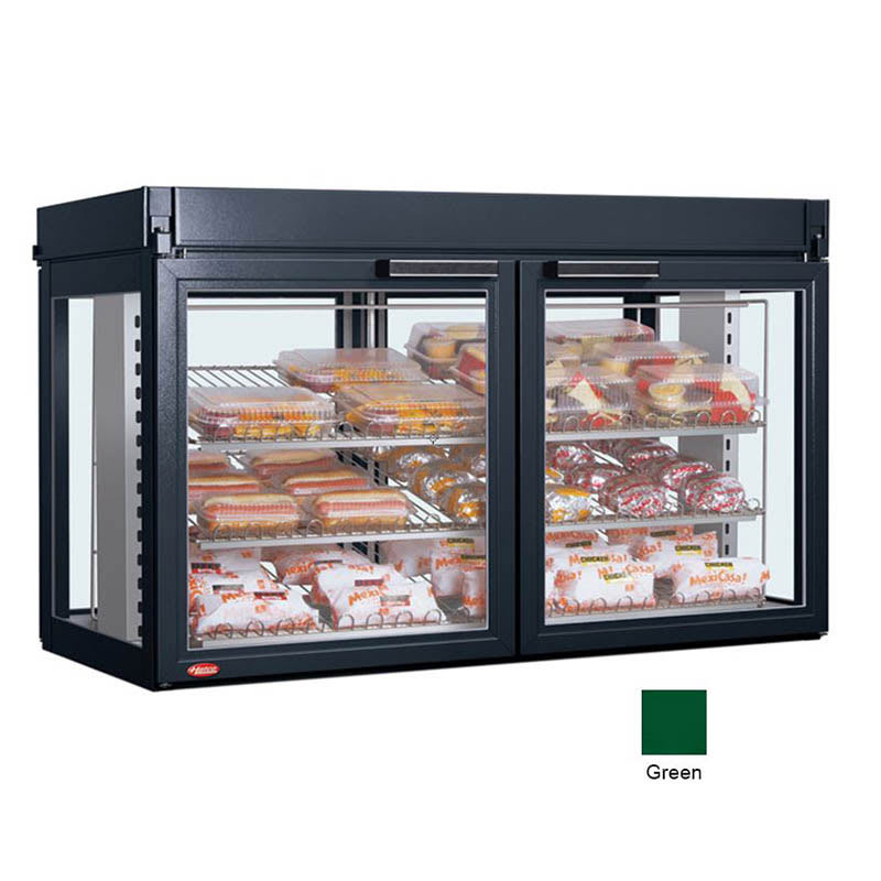 "Hatco LFST-48-1X 48.81"" Full-Service Countertop Heated Display Case - (3) Shelves, Green, 240v/1ph"