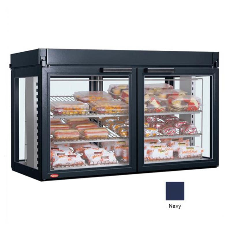 "Hatco LFST-48-1X 48.81"" Full-Service Countertop Heated Display Case - (3) Shelves, Navy, 240v/1ph"
