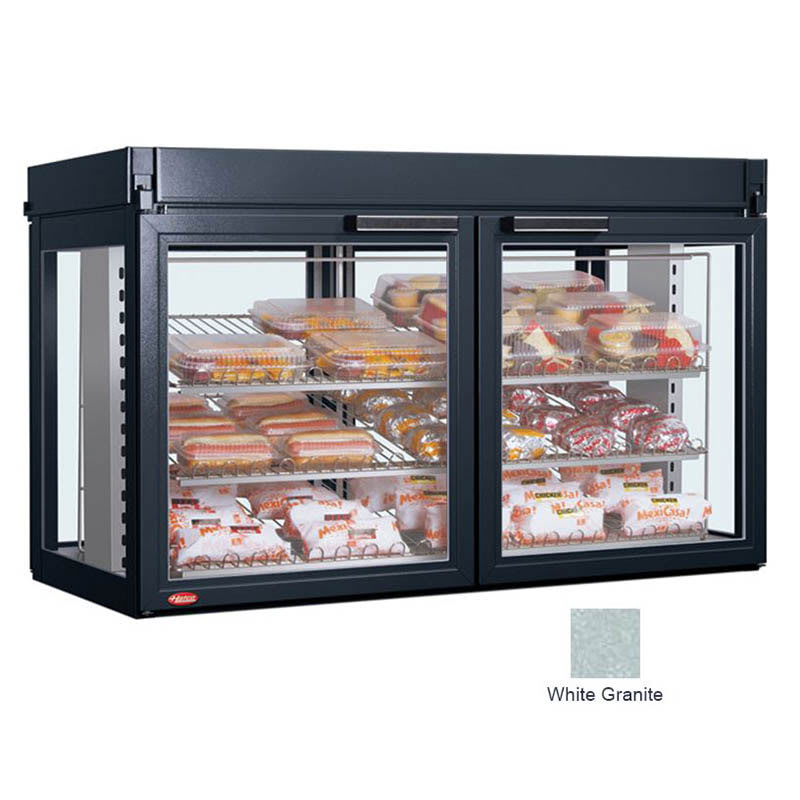 "Hatco LFST-48-1X 48.81"" Full-Service Countertop Heated Display Case - (3) Shelves, White, 240v/1ph"