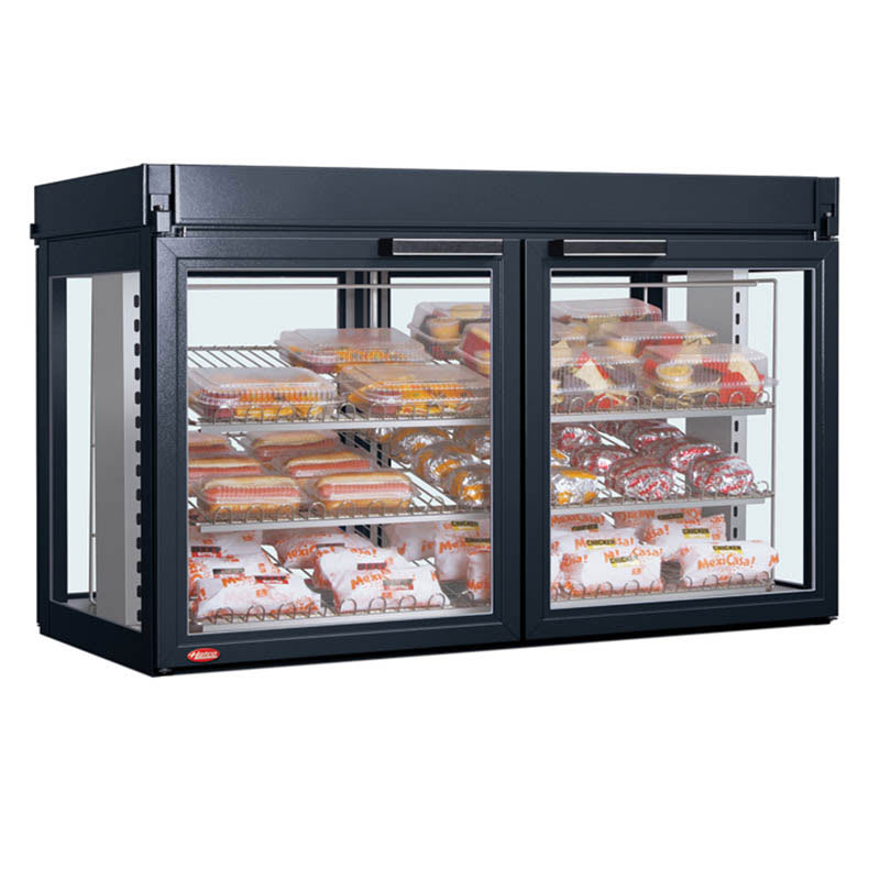 "Hatco LFST-48-2X 48.81"" Self-Service Countertop Heated Display Case - (3) Shelves, Black, 240v/1ph"